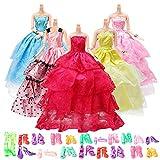 Yomon 5 Pezzi Vestiti da Principessa 20 Paia di Scarpe e Moda Abiti da Sposa per Barbie Piccoli Regali per Bambina