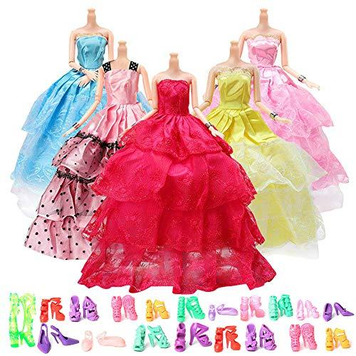 Kleider Kleidung Prinzessinnen Fashionistas mit 20 Paare Schuhe , Modisch Brautkleider für Barbie Puppen ()