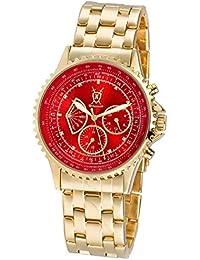 Konigswerk AQ101105G - Reloj para hombre con esfera roja y correa dorada