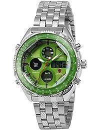 Shark SH112 - Reloj Hombre de Cuarzo, Correa de Acero Inoxidable Plateado, Esfera Verde