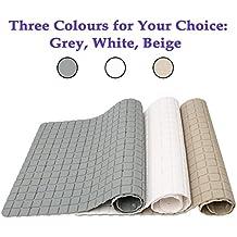 Antideslizante alfombra de baño alfombrilla de ducha minimalista–Beige/Gris–Puños de superficie de acabado mate y succión Back–77x 34cm (31x 14pulgadas), pvc, Blanco, large