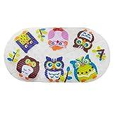 Lindong Cartoon PVC Antirutschmatten für Badewanne mit Saugnäpfen Sicherheits für Baby Kinder Duschmatte Badematte Eule