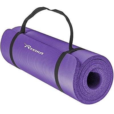 Reehut 12mm Extra-Dick Hohe Dichte NBR Training Yogamatte für Pilates, Fitness & Gymnasitk mit Tragegurt