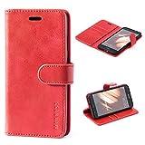 Mulbess Ledertasche im Ständer Book Case / Kartenfach für Huawei P10 Lite Tasche Hülle Leder Etui,Wine Rot