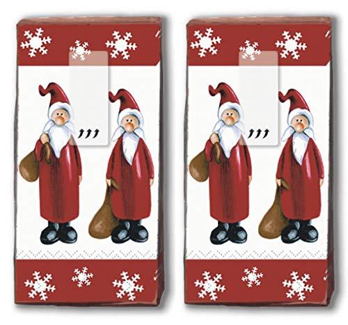 20 Taschentücher (2x 10) Taschentücher Santa bei der Arbeit/Weihnachtsmann / Winter/Weihnachten