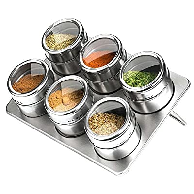 6 Piece Spice Jars Magnetic Stainless Steel Condiment Pot with Trestle & Rotating Transparent Lid by Xuanlan (Round Shape, Silver) (Stainless Steel Triangle) (Stainless Steel 2) from Xuanlan