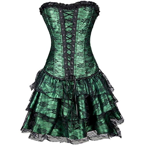 London Burlesque Kostüm - WUSIKY Rockabilly Kleider Damen Rock Dress ÄrmellosPatchwork V Ausschnitt Burlesque Korsett mit Mini Mantel Kostüm Kleider Partykleid Minikleid Strandkleid Vintage Rundhals Kleid(XX Large,Grün)
