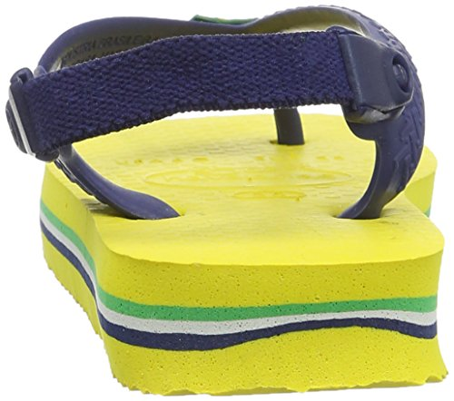 Havaianas Baby Brasil Logo, Infradito Unisex Bimbi Giallo (Citrus Yellow 2197)