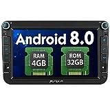 Pumpkin Android 8.0 Autoradio Moniceiver für VW mit Navi Unterstützt Bluetooth DAB + USB Android Auto WLAN 4G MicroSD Doppel Din 8 Zoll Bildschirm