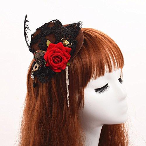 BLESSUME Gótico Mujer Steampunk Alas de engranaje Reloj Mariposa Sombrero Cordón Cabello Acortar Headwear