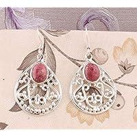 Filigree Dangle Earrings, Oval Rhodochrosite Earrings, Drop Earrings, Sterling Silver Earrings for Summer Gift