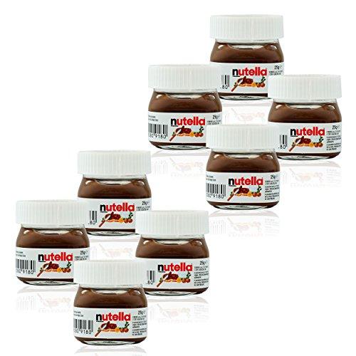 Ferrero Nutella Kleines Mini Design Glas 8er Set a 25g, Brotaufstrich, Nussnugatcreme, Schokoladen Auftrich