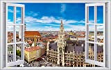 DesFoli München Bayern 3D Look Wandtattoo 70 x 115 cm Wanddurchbruch Wandbild Sticker Aufkleber F095