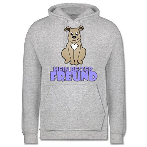 Hunde - Mein bester Freund Hund - Männer Premium Kapuzenpullover / Hoodie Grau Meliert