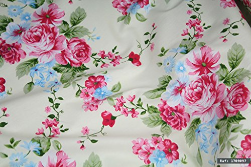 Rose Floral Cotton Fabric (Pink Rose Floral 100% cotton fabric, 1m length x 1.6m width. By the meter - Ref: 1709097)