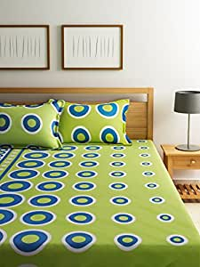 ... Home Ecstasy 100% Cotton Printed Bedsheet Set 3027 (Green, Double)