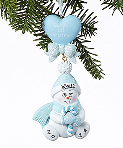 ane Baby Blue Christmas Holiday Gift Expertly Handwritten Ornament by Rudolph and Me ()