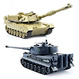 GizmoVine 1/28 RC Panzer Ferngesteuert Fuer Kinder RC Tank Spielzeug Panzer (Navyblau Tiger103 VS Gelb M1A2)