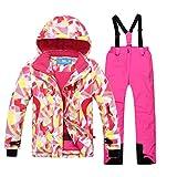 emansmoer Kinder Skianzug Winddicht Wasserdicht Funktions Wintersport Skijacke Schneehose Snowboard Salopettes (134/140, (Rosa + Rosa)/8019)