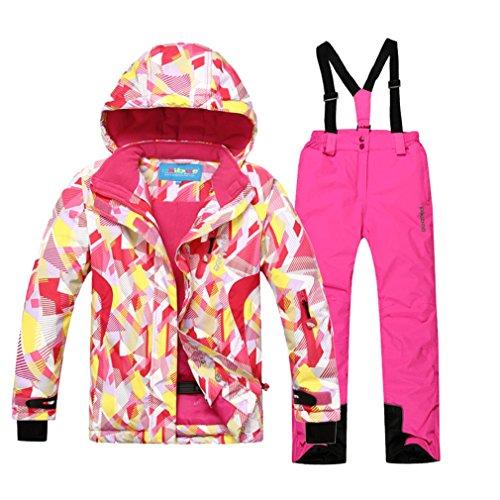 Emansmoer - Traje de esquí para niñas, algodón acolchado, resistente al viento, resistente al agua, para deportes de invierno y exterior, otoño/invierno, Deporte, color (Rosa + Rosa)/8019, tamaño 10 Años