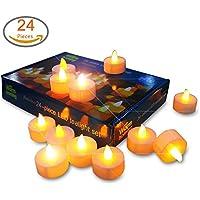 Candele senza fiamma, set di 24a batteria LED Mooncandles, perfetto per matrimoni, Natale, funerali, ricordi, diametro