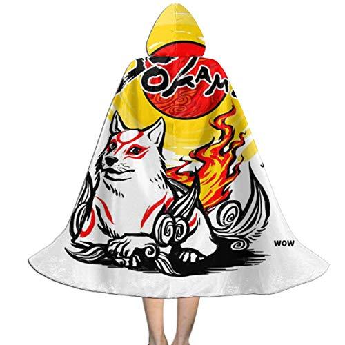 KUKHKU Dokami Okami Unisex Kinder Kapuzenumhang Umhang Cape Halloween Party Dekoration Rolle Cosplay Kostüme Outwear