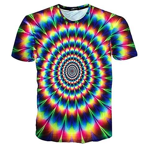 RXBC2011 Men's 3D Print Colorful Spiral Rainbow Short Sleeve T-shirt Multicoloured (L)