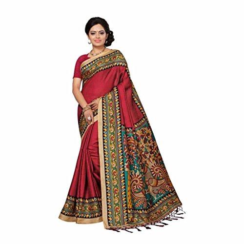 Indian Handicrfats Export Solid, Paisley, Printed Bhagalpuri Silk Saree (Maroon, Multicolor) Paisley Printed Silk Dress