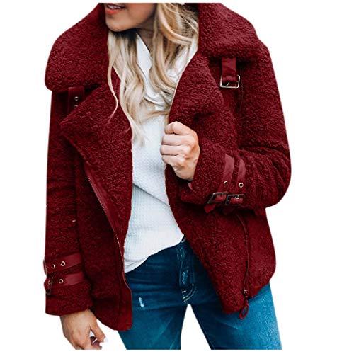 BOLANQ Plüschmantel Mantel, Mode Frauen Jacke Winter Warme Outwear Damen Mantel Kurzer Mantel(XXX-Large,Wein)