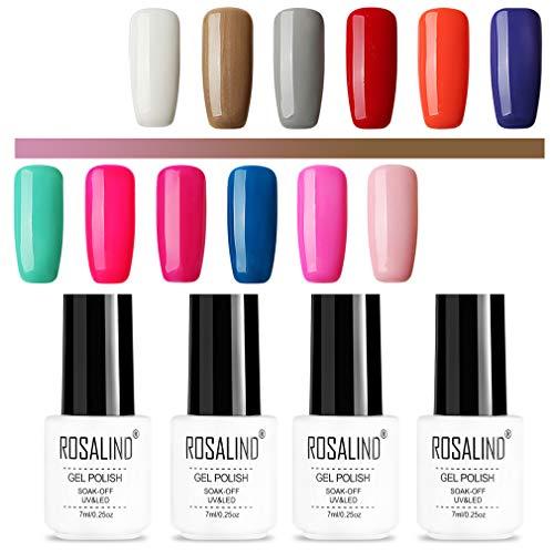 ROSALIND color gel esmalte de uñas semipermanente de larga duración empapado de lámpara LED UV 12 pack 7 ml