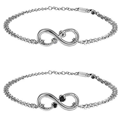 Oidea, braccialetto da donna infinity set (2 pezzi), in acciaio inox, simbolo dell'infinito, cuore con zirconi, braccialetto con catena, nero argento