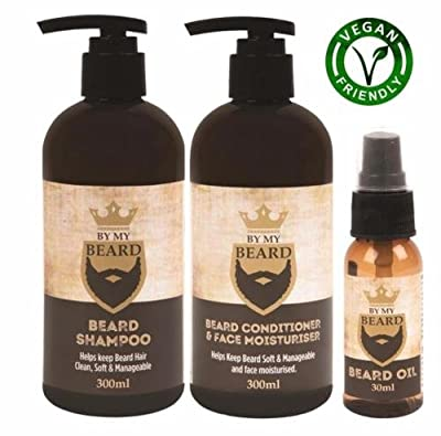 BY MY BEARD Beard Shampoo/Conditioner and Face Moisturiser Oil Complete Triple Pack from BE MY BEARD