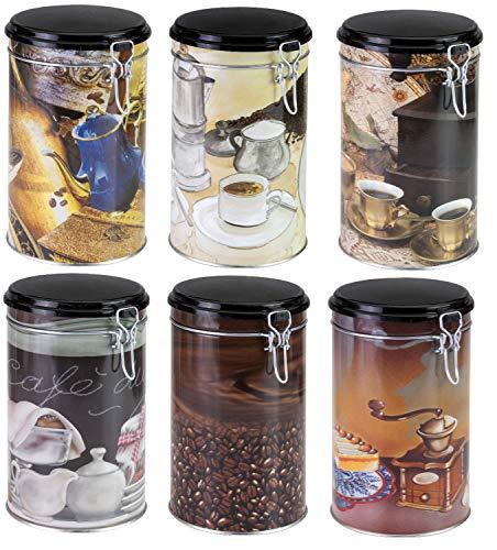 Unbekannt Kaffeedose 6er Set unterschiedliche Modelle 11 x 20 cm Blech