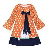 Paisdola Little Girls Abito a Maniche Lunghe Casual Carino Divertente Halloween Natale Costume Dress (90, Arancione)