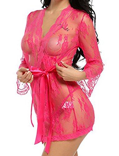 Moon Angle Kimono Blumen-Spitze Negligee Reizwäsche Nachtwäsche Morgenmantel Babydoll Lingerie Dessous Set für Damen mit G-string Rosarot