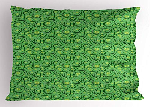 HFYZT Vine Pillow Sham, Floral Swirling Lines with Little Yellow Abstract Blossoms, Decorative Standard King Size Printed Kissenbezug Pillowcase, 18 X 18 Inches, Shamrock Green Dark Green and Yellow -