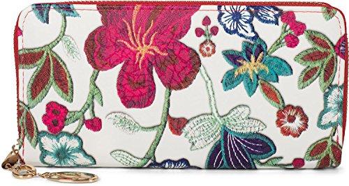 styleBREAKER Geldbörse mit Blumen, Blüten und Blätter Stickmuster, Reißverschluss, Portemonnaie, Damen 02040105, Farbe:Weiß-Rot
