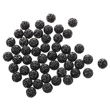 SODIAL(R) 50 Pcs 18mm Diameter Black Bio Balls for Aquarium Pond Filter 3