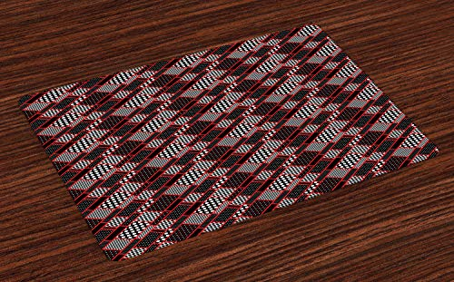 ABAKUHAUS Rot und Schwarz Platzmatten, Geometrische Rechteck Frames Retro Patterns Polka Dots und Houndstooth, Tiscjdeco aus Farbfesten Stoff für das Esszimmer und Küch, Scharlachrot Weiß Schwarz (Schwarzen Weißen Polka-dot-platten Und)