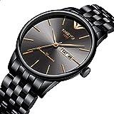 Nibosi Herren Luxus-Armbanduhr, Herren, Sport-Quarzuhrwerk, Edelstahl, wasserdicht, mit Geschenk-Box