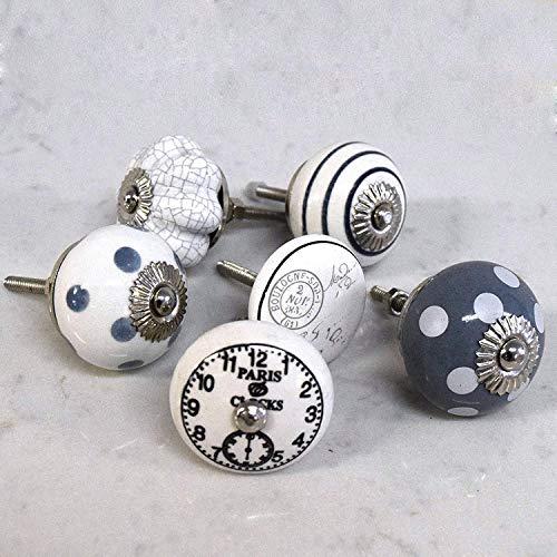 Pushka Home Set di 6 Ceramica Grigio Bianco Nero Stile Vintage Chic Orologi a Righe Armadietto Porta Manopole. Confezione da 6 x 40mm Retro Ispirato Maniglie. Venduto come Shown. Add Decadence To Your