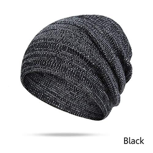 EJKDF Winter Hüte Frauen Männer Einfarbig Herbst Winter Strickmütze Cap Unisex Black