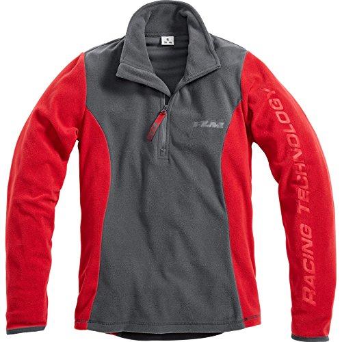 FLM Fleeceshirt Damen Fleece Shirt 1.0, Fleecepullover Damen, tragangenehmes Microfleece, farbig abgesetzte Details, grau/rot, S (Damen Shirt Motorrad)