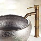 DESON Wasserhahn Antike Messing Einhebel Wasserhahn Waschbecken Wasserhähne Kaltes und Kaltes Wasser Waschbecken Design Armaturen Bambusrohr - FG 1045