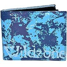 Cartera de piel wildzone de color azul con diseño joven y original