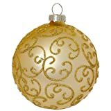 SIKORA Christbaumkugeln aus Glas mit klassischer Verzierung / FLORENCE / gold - 4er Set