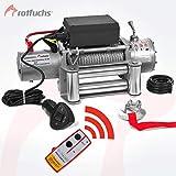 ROTFUCHS Elektrische Seilwinde 13000lbs 5909kg 12V 6PS Offroad 4x4 Motorwinde Seilzug inkl. Funkfernbedienung Silber