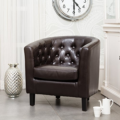 Sofa Collection Chesterfield Style Beauvais Tub Chair with Studded Back, Bonded Leather, Brown, 70 x 76 x 73 cm