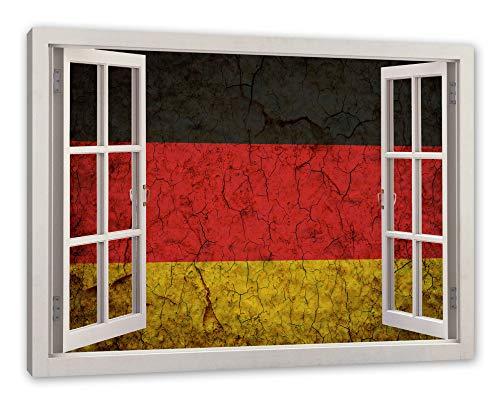Pixxprint Deutschlandfahne, Fenster Leinwandbild |Größe: 100x70 cm | Wandbild | Kunstdruck