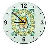 Cristal reloj 'Reicher Smiley con los dólares euros King', regarder- Ø18- ø20- ø30- Smiley- Emoji- astuces de Navidad, cristal, 30 cm de  diámetro